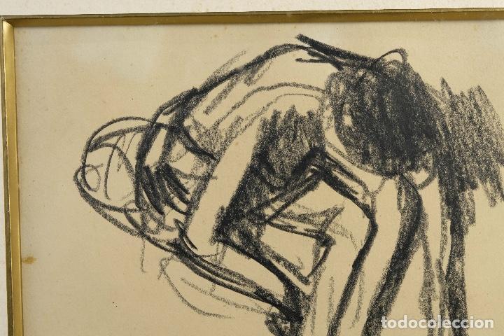 Arte: Francesc Serra Castellet (1912-1976) Dibujo al carboncillo Bailarina firmado - Foto 3 - 159126930