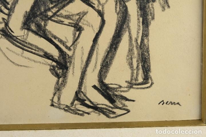 Arte: Francesc Serra Castellet (1912-1976) Dibujo al carboncillo Bailarina firmado - Foto 4 - 159126930