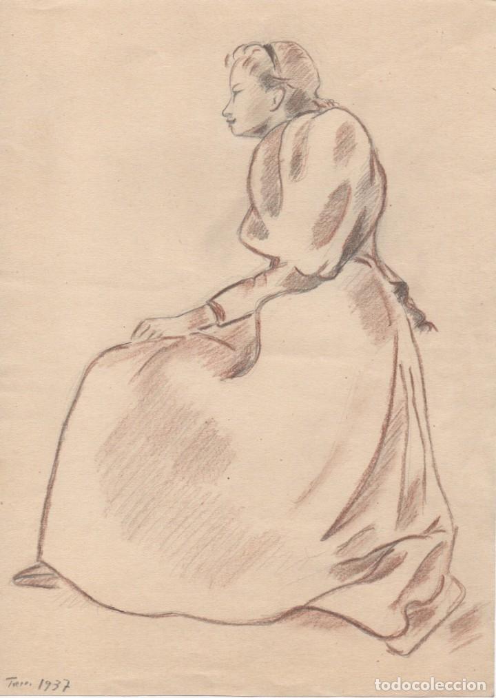 DIBUJO DE ENRIC C. RICART FECHADO EN 1937. MUJER CON FALDONES SENTADA. (Arte - Dibujos - Contemporáneos siglo XX)