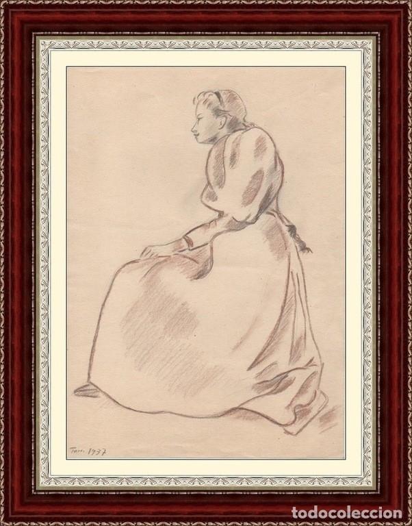 Arte: Dibujo de Enric C. Ricart fechado en 1937. Mujer con faldones sentada. - Foto 5 - 111898227