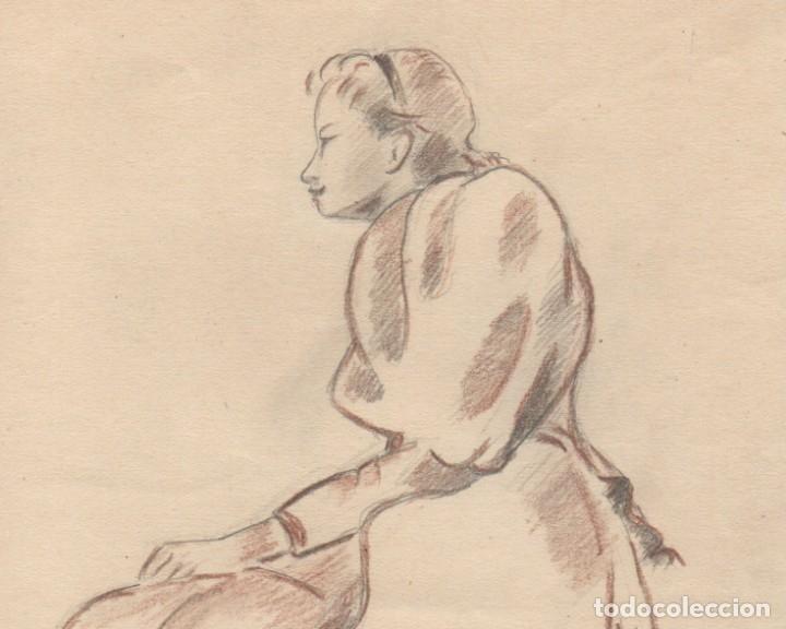 Arte: Dibujo de Enric C. Ricart fechado en 1937. Mujer con faldones sentada. - Foto 2 - 111898227