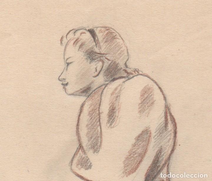 Arte: Dibujo de Enric C. Ricart fechado en 1937. Mujer con faldones sentada. - Foto 3 - 111898227