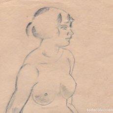 Arte: DIBUJO ORIGINAL DE ENRIC C. RICART DE 1917. MUJER DESNUDA SENTADA CON PIERNAS RECOGIDAS.. Lote 127469919