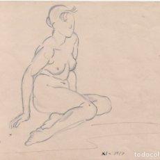 Arte: DIBUJO ORIGINAL DE ENRIC C. RICART. NOVIEMBRE 1917. MUJER DESNUDA SENTADA CON PIERNAS RECOGIDAS. Lote 127488219