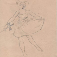 Arte: DIBUJO ORIGINAL DE ENRIC C. RICART. 1919 BAILARINA CON LAZO.. Lote 114720075
