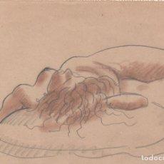 Arte: DIBUJO ORIGINAL DE ENRIC C. RICART DE 1919. MUJER DESNUDA. MEDUSA,. Lote 136493358