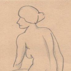 Arte: DIBUJO ORIGINAL DE ENRIC C. RICART. AÑO 1920. MUJER DESNUDA SENTADA DE MEDIO LADO. Lote 113175911