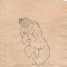 Arte: DIBUJO ORIGINAL DE ENRIC C. RICART DE 1920 MUJER DESNUDA EN CUCLILLAS. Lote 128871127
