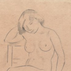 Arte: DIBUJO ORIGINAL DE ENRIC C. RICART DE 1920. MUJER DESNUDA SENTADA EN UNA SILLA. Lote 129402707