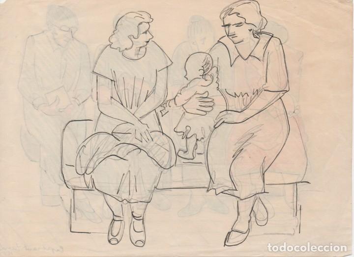 Arte: Dibujo original de Enric C. Ricart. a doble cara de 1951. Esperant tanda - Foto 3 - 135515118