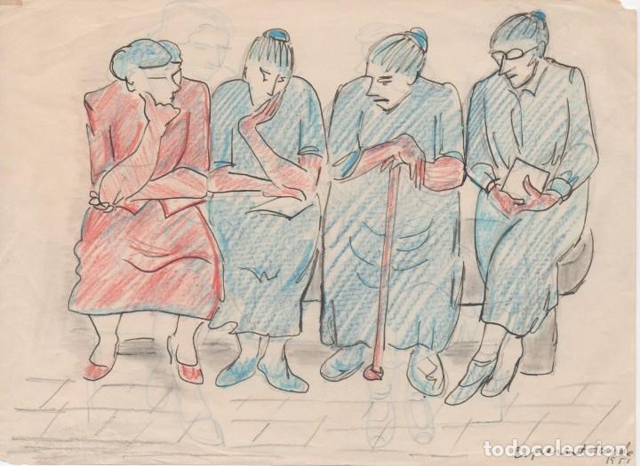 DIBUJO ORIGINAL DE ENRIC C. RICART. A DOBLE CARA DE 1951. ESPERANT TANDA (Arte - Dibujos - Contemporáneos siglo XX)