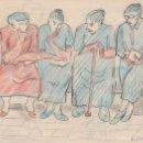 Arte: DIBUJO ORIGINAL DE ENRIC C. RICART. A DOBLE CARA DE 1951. ESPERANT TANDA. Lote 135515118
