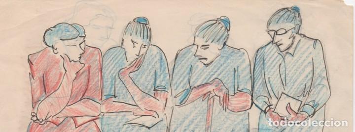 Arte: Dibujo original de Enric C. Ricart. a doble cara de 1951. Esperant tanda - Foto 2 - 135515118