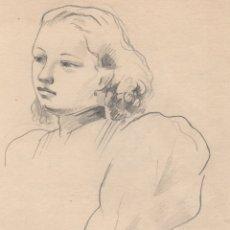Arte: DIBUJO ORIGINAL DE ENRIC C. RICART DE 1937. RETRATO DE MUJER. Lote 140905710