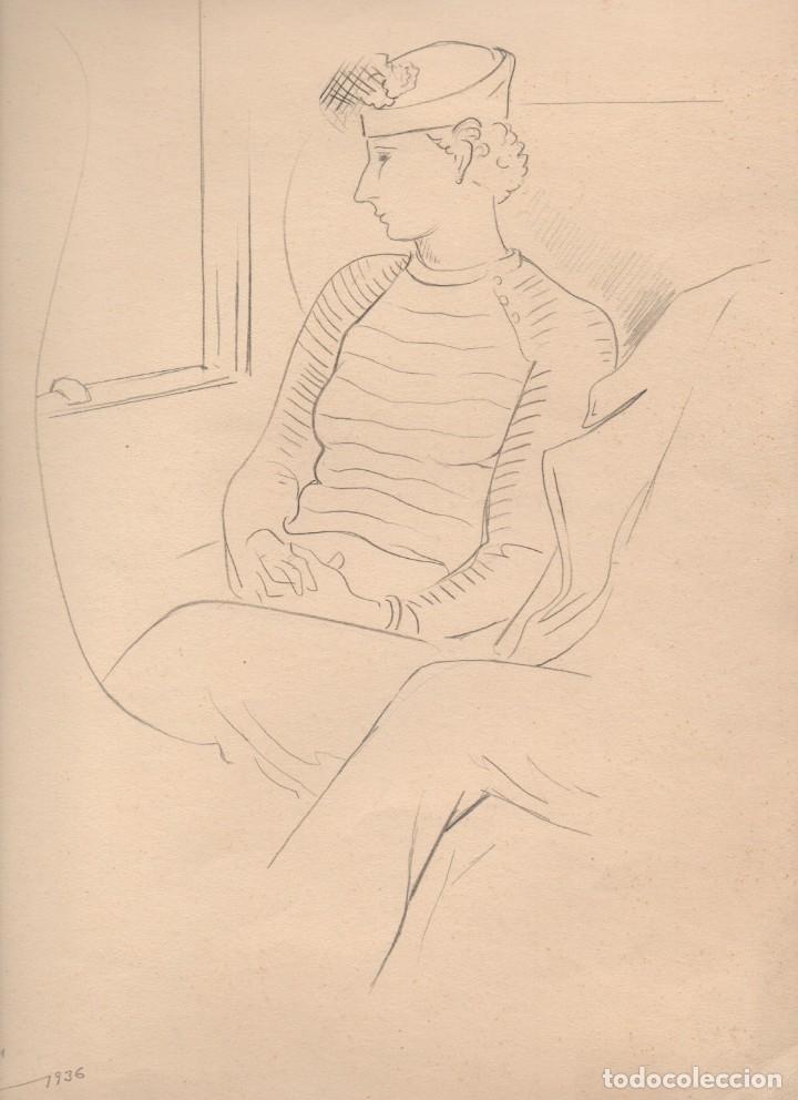DIBUJO ORIGINAL A LÁPIZ DE ENRIC C. RICART. ELS NUVIS. CON TÍTULO Y FECHA AUTÓGRAFA 1936 (Arte - Dibujos - Contemporáneos siglo XX)