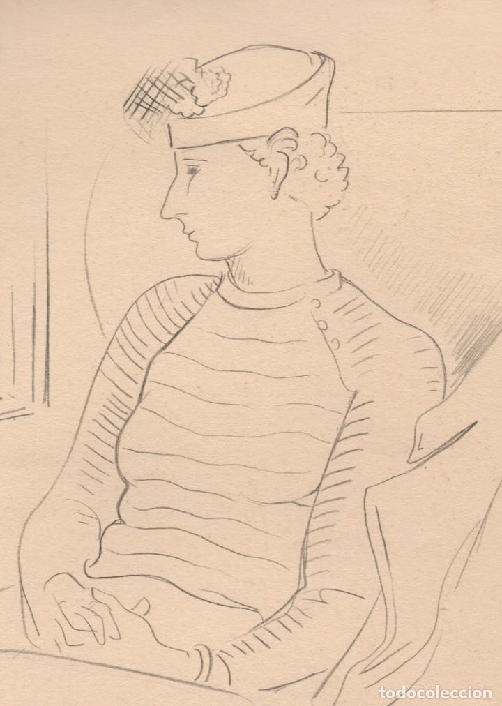 Arte: Dibujo original a lápiz de Enric C. Ricart. Els nuvis. Con título y fecha autógrafa 1936 - Foto 3 - 156326146
