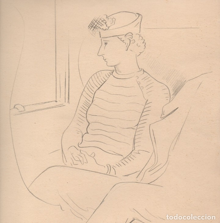 Arte: Dibujo original a lápiz de Enric C. Ricart. Els nuvis. Con título y fecha autógrafa 1936 - Foto 2 - 156326146