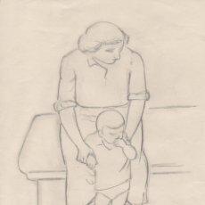 Arte: DIBUJO ORIGINAL DE ENRIC C. RICART. DE LA SERIE ESCENAS DE CALLE. MUJER SENTADA CON NIÑO. 1959. Lote 133788038