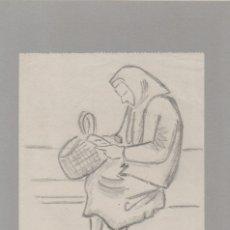 Arte: DIBUJO A LÁPIZ DE ENRIC C.RICART DE 1959. MUJER MAYOR SENTADA CON PAÑUELO Y CESTO. Lote 152409314