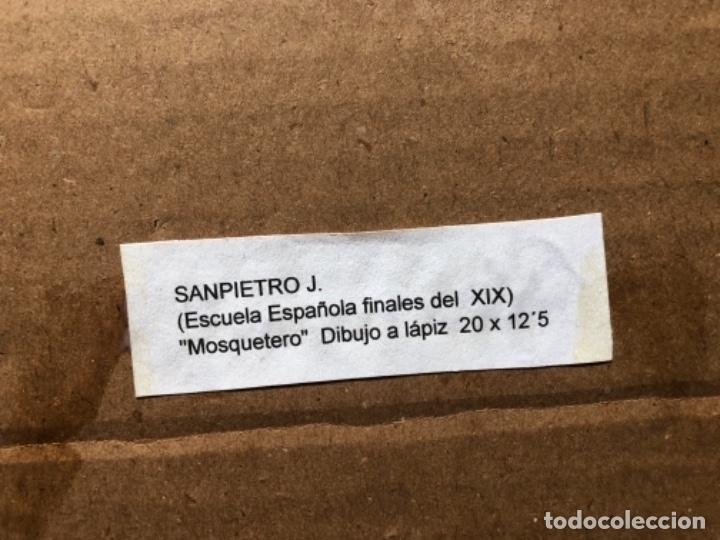 Arte: DIBUJO A LAPIZ, MOSQUETERO, SOBRE PAPEL 29X12,5 CM, ILUSTRADOR J. SAMPIETRO - Foto 5 - 159890390