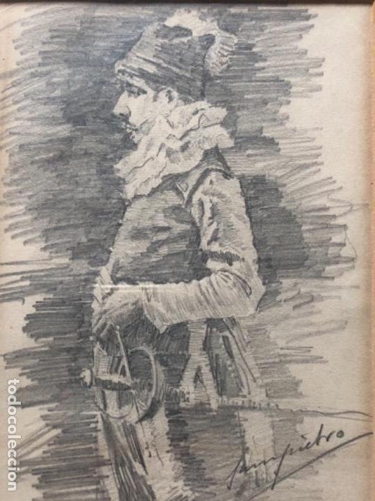 DIBUJO A LAPIZ, MOSQUETERO, SOBRE PAPEL 29X12,5 CM, ILUSTRADOR J. SAMPIETRO (Arte - Dibujos - Modernos siglo XIX)
