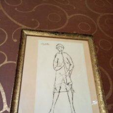 Arte: DIBUJO ENMARCADO DE JOVEN TOCANDO INSTRUMENTO. FIRMADO POR EL PRESTIGIOSO PINTOR REGINO PRADILLO.. Lote 159996194