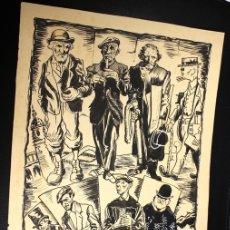 Arte: DIBUJO ORIGINAL TINTA CHINA TIPOS BILBAINOS. REALIZADO POR MOGUER, CIRCA 1970. Lote 160228938