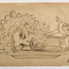 Arte: ANTIGUO DIBUJO ORIGINAL A CARBONCILLO, CON CUÑO Y NUMERADO, CABEZA CORTADA DE UN MARTIR. Lote 160262826