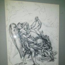 Arte: JACOB LUCHA CONTRA EL ANGEL. DIBUJO FIRMADO. ENVIO CERTIFICADO INCLUIDO.. Lote 160595502