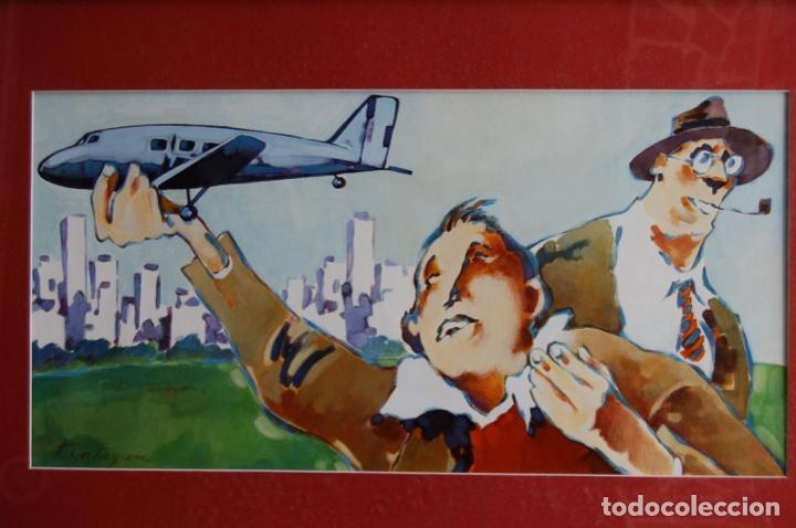 Arte: Tino Gatagán (León 1951/Madrid 2005) Precioso Dibujo en acrílico de 56x28 enmarcado en74x46.Perfecto - Foto 2 - 160608910