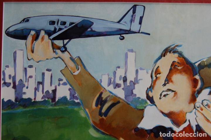 Arte: Tino Gatagán (León 1951/Madrid 2005) Precioso Dibujo en acrílico de 56x28 enmarcado en74x46.Perfecto - Foto 6 - 160608910