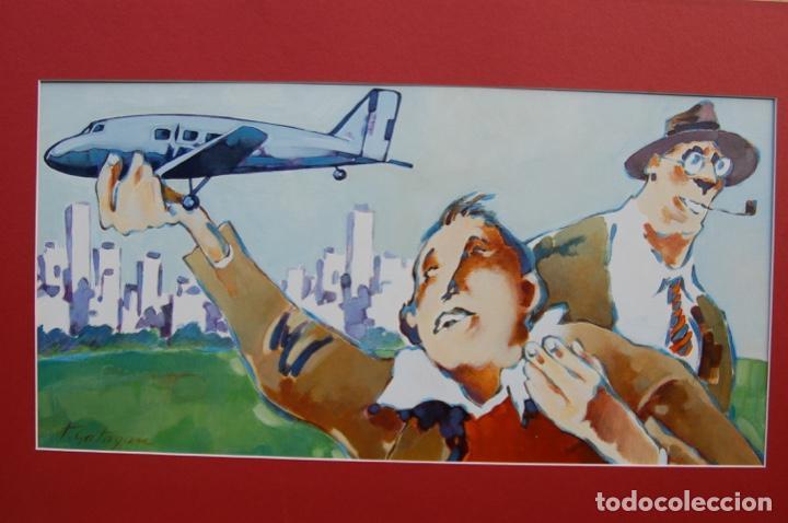 Arte: Tino Gatagán (León 1951/Madrid 2005) Precioso Dibujo en acrílico de 56x28 enmarcado en74x46.Perfecto - Foto 13 - 160608910