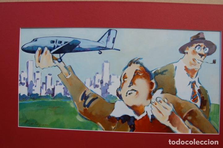 Arte: Tino Gatagán (León 1951/Madrid 2005) Precioso Dibujo en acrílico de 56x28 enmarcado en74x46.Perfecto - Foto 14 - 160608910