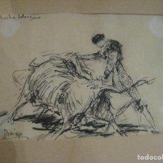 Arte: TOROS, PLUMILLA DE ROBERTO DOMINGO DEDICADA AL TORERO CHUCHO SOLÓRZANO, AÑOS 40. Lote 160648426
