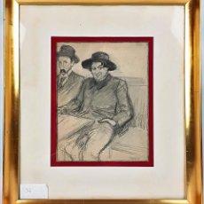 Arte: ISIDRO NONELL Y MIQUEL UTRILLO. DIBUJO AL CARBON. RICARDO OPISSO. CIRCA 1900. Lote 161255062