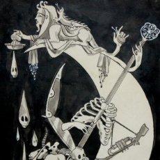 Arte: SERAFIN ROJO CAAMAÑO (MADRID, 1925 - 2003) DIBUJO A TINTA CON CLARION Y LIGERAMENTE ACUARELADO. Lote 161304842