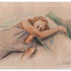 Arte: DIBUJO/ACUARELA DE ENRIC C RICART. NOIA DORMINT. FIRMADO Y FECHADO EN 1932. Lote 161389746