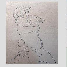 Arte: ALBERTO DUCE, DIBUJO NIÑO CON AVE. Lote 161809342