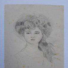 Arte: HELLEU, PAUL CÉSAR. RETRATO DE MUJER. CARBONCILLO. 23,5 X 18,2 CM. SIN ENMARCAR.. Lote 161894538