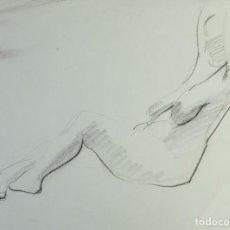 Arte: DIBUJO A LAS CERAS DESNUDO FEMENINO FIRMA ILEGIBLE SIGLO XX. Lote 161900066