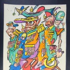 Arte: DIBUJO A ROTULADOR CARICATURA MILITARES SIGLO XX. Lote 162385526