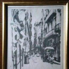 Arte: DIBUJO CARRER DE LA BORIA. CON MARCO DORADO Y CRISTAL.. Lote 162424874