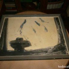 Arte: CUADRO PINTURA SOBRE CARTULINA HUECO 34 X 24 CM. ABSTRACTO CRUZ VARIACIÓN 2 MARCO 39 X 29 CM.. Lote 162464478
