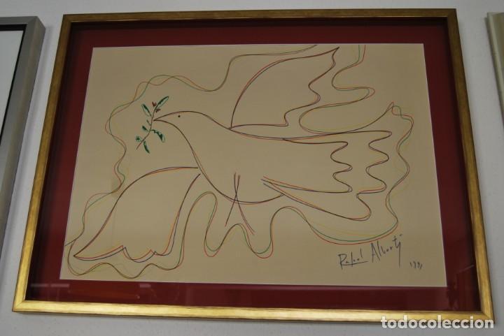 DIBUJO A ROTULADOR DE RAFAEL ALBERTI - PALOMA DE LA PAZ - 1991 - GRAN TAMAÑO (Arte - Dibujos - Contemporáneos siglo XX)
