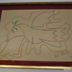Arte: DIBUJO A ROTULADOR DE RAFAEL ALBERTI - PALOMA DE LA PAZ - 1991 - GRAN TAMAÑO. Lote 162566126