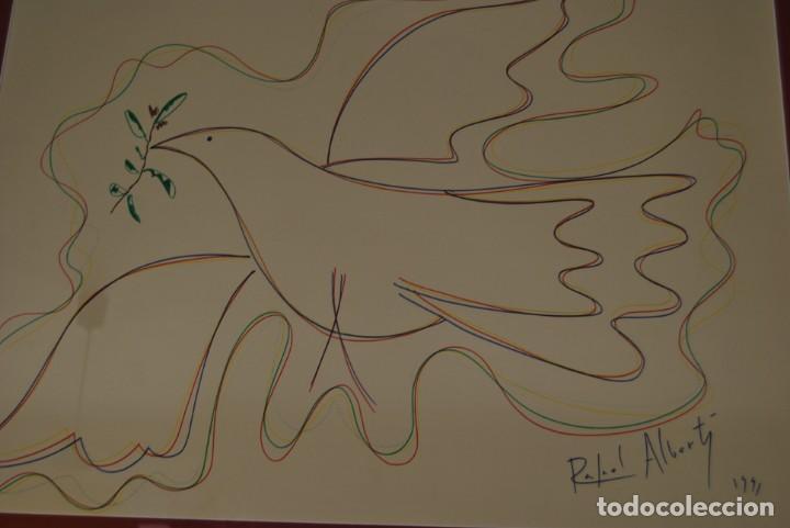 Arte: DIBUJO A ROTULADOR DE RAFAEL ALBERTI - PALOMA DE LA PAZ - 1991 - GRAN TAMAÑO - Foto 2 - 162566126
