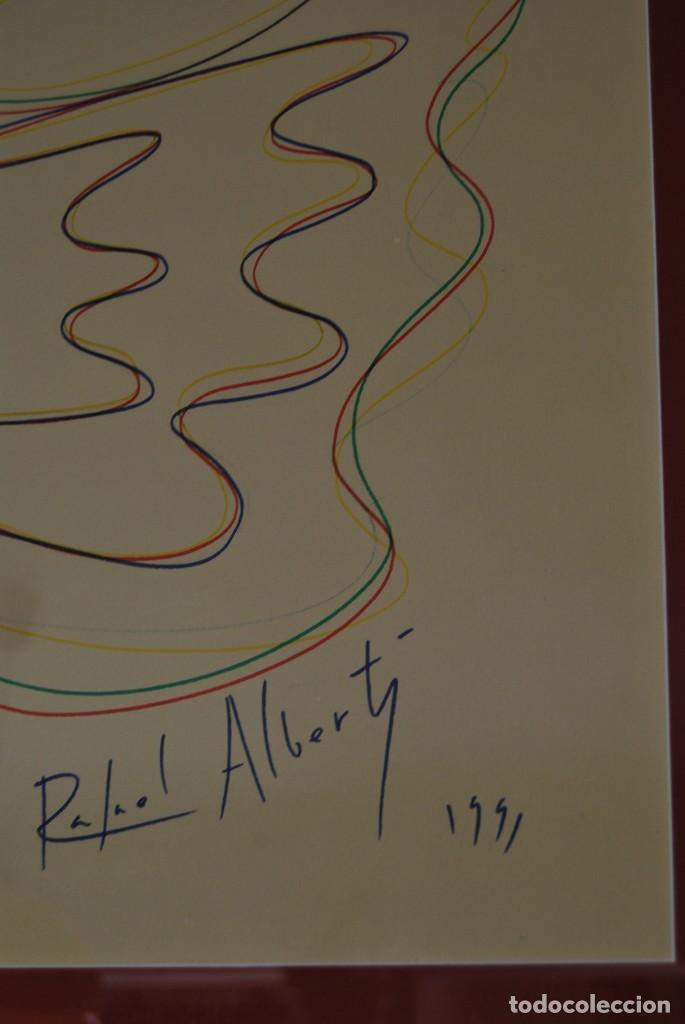 Arte: DIBUJO A ROTULADOR DE RAFAEL ALBERTI - PALOMA DE LA PAZ - 1991 - GRAN TAMAÑO - Foto 3 - 162566126