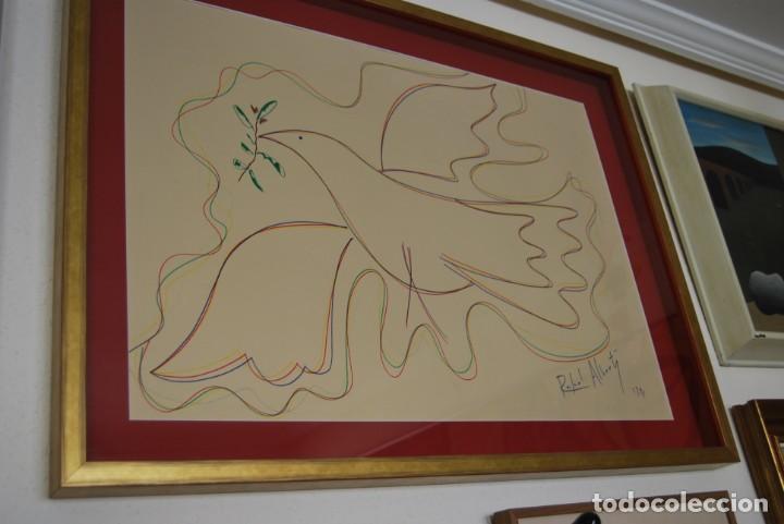 Arte: DIBUJO A ROTULADOR DE RAFAEL ALBERTI - PALOMA DE LA PAZ - 1991 - GRAN TAMAÑO - Foto 7 - 162566126