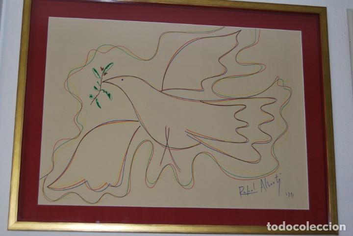 Arte: DIBUJO A ROTULADOR DE RAFAEL ALBERTI - PALOMA DE LA PAZ - 1991 - GRAN TAMAÑO - Foto 12 - 162566126