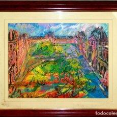 Arte: B4-066. LA PLAZA DEL LOUVRE. TÉCNICA MIXTA SOBRE PAPEL. FIRMADO JOAN ABELLÓ. CIRCA 1950.. Lote 162698550